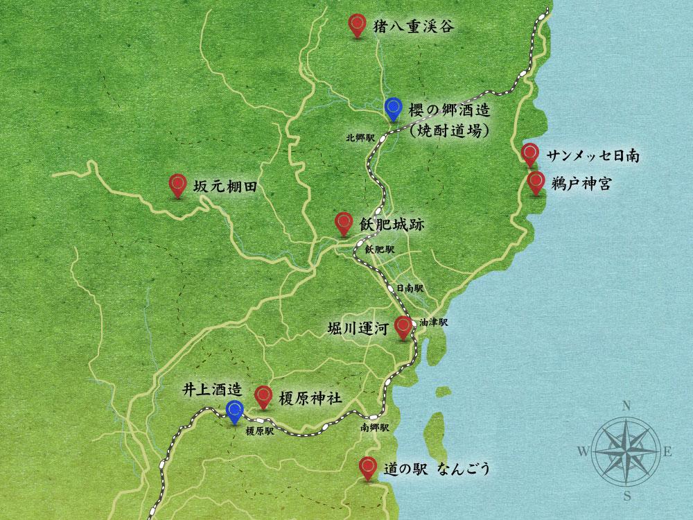 宮崎県日南市観光マップ